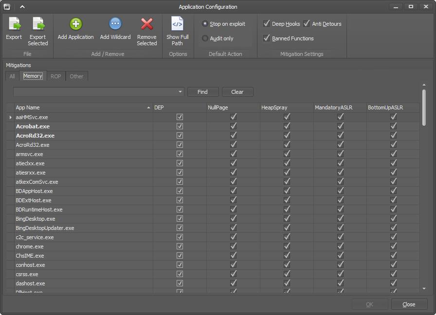 Настройка ASLR и BUR для конкретного приложения в EMET 4.0 в Windows Server 2012 R2
